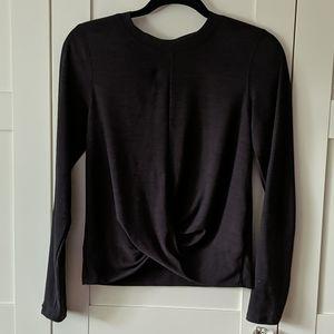 ❄️3/$25 Drape Front Black Athletic Long Sleeve Top